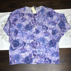 Ann Taylor Purple Floral Cardigan size large NWT